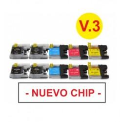 BROTHER LC121XL/123XL V3 MULTIPACK DE 10 CARTUCHOS DE TINTA GENERICOS