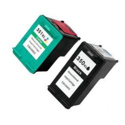 PACK HP 350XL NEGRO + HP 351XL TRICOLOR CARTUCHO DE TINTA REMANUFACTURADO CB336EE / CB338EE