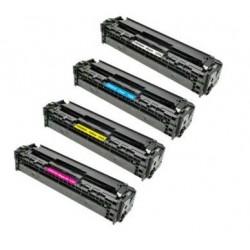 PACK HP CB540A / CB541A / CB542A / CB543A PACK 4 CARTUCHOS DE TONER COMPATIBLES Nº 125A/128A/131A