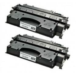 PACK 2 HP CF280X NEGRO CARTUCHO DE TONER COMPATIBLE Nº 80X