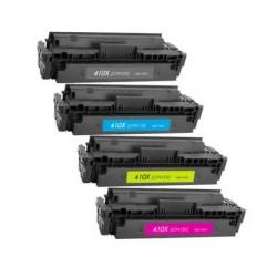 Pack 4 Toner HP CF410X / CF411X / CF412X / CF413X compatible con HP Color LaserJet Pro M452, M377, M477
