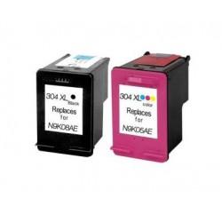 HP 304XL NEGRO + TRICOLOR CARTUCHOS DE TINTA COMPATIBLES N9K08AE / N9K07AE
